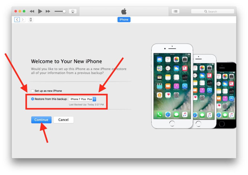 i phone 7 plus restore backup function